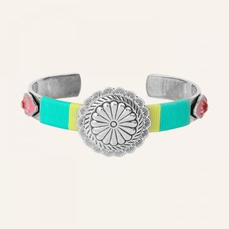 Bangle fleur métal Ethnic Turquoise