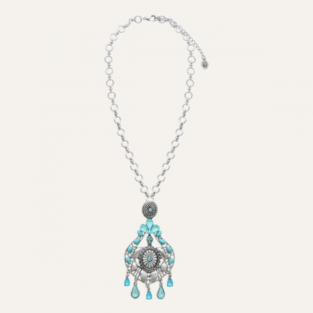 Collier Medaillon Ethnic Turquoise