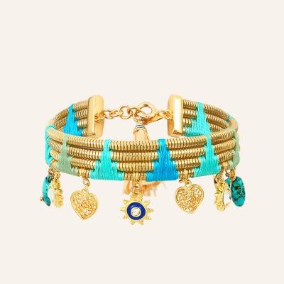 Bracelet fils de coton et pampilles Raphias Raffinés