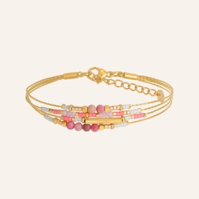Bracelet grigris esprit bohème rose
