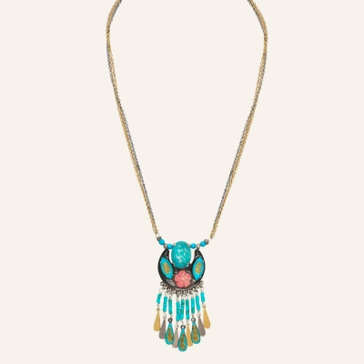Collier ras de cou pampilles Ethnic Turquoise