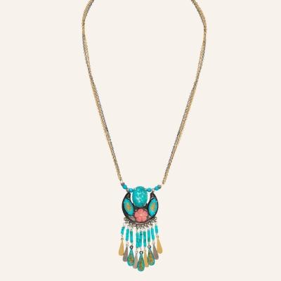 Collier ras de cou pampilles Ethnic Turquoise