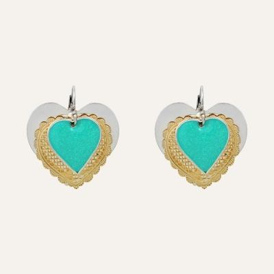 Boucles d'Oreilles Médaillons L'Essence du Cœur Turquoises