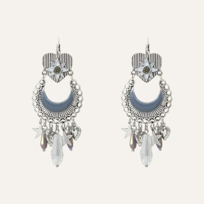 Boucles d'oreilles Pampilles Cristaux Indian Song Grises