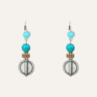 Boucles d'Oreilles Pendantes Médaille L'Essence du Cœur Turquoise