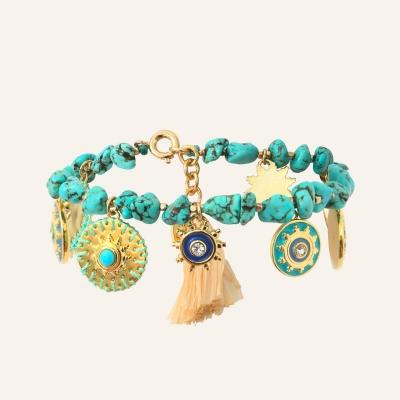 Bracelet turquoises Raphias Raffinés