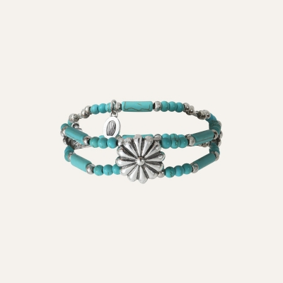 Bracelet 2 Rangs Fleurs Ethnic Turquoise
