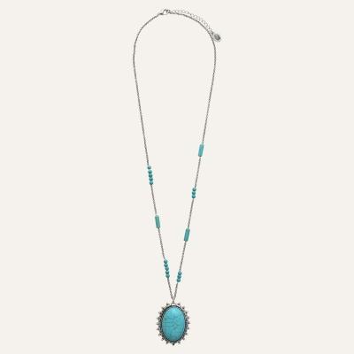 Sautoir Cabochon Ethnic Turquoise