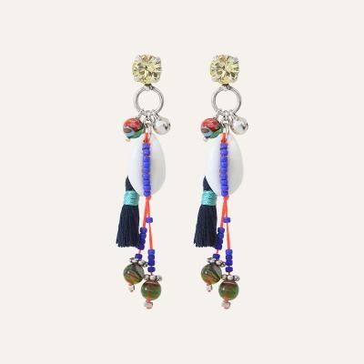 Boucles d'oreilles coquillage Goa Bleu