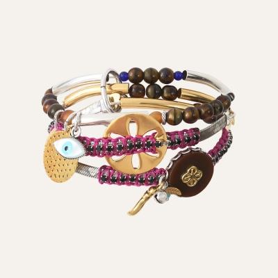 Bracelet 3 rangs Violet Ibiza