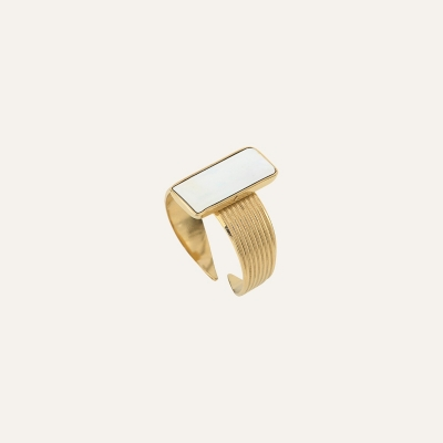 Bague Rectangle Douceur Nacrée Ivoire
