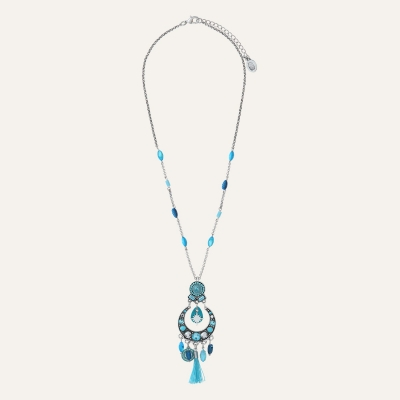 Collier pompon turquoise Indian Song