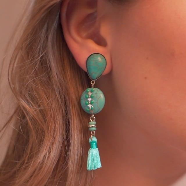 Boucles d'oreilles Pompons Ethnic Turquoise