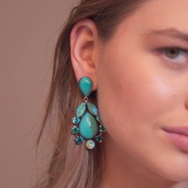 Boucles d'oreilles clip Ethnic Turquoise