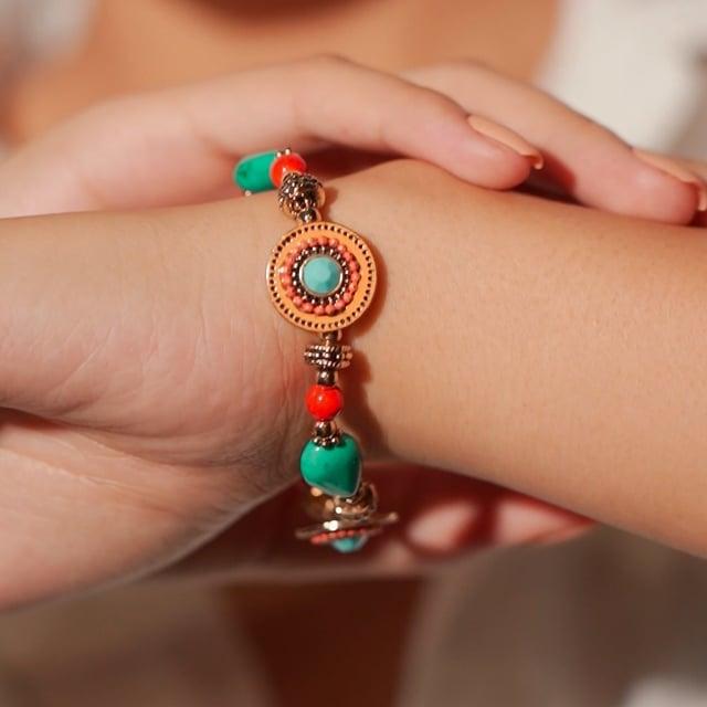 Bracelet turquoise et orange Indian song