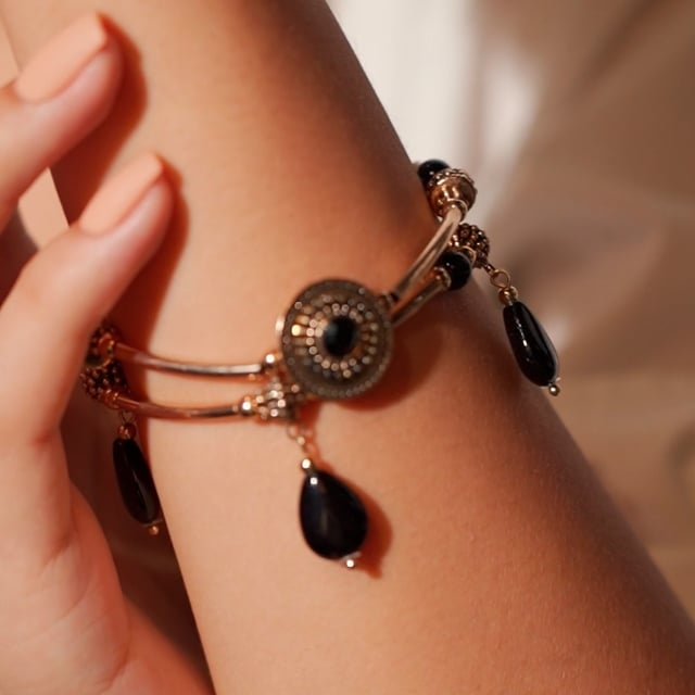 Bracelet double rang attrape-rêve noir Indian song