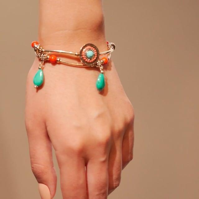 Bracelet double rang attrape-rêve turquoise et orange Indian song
