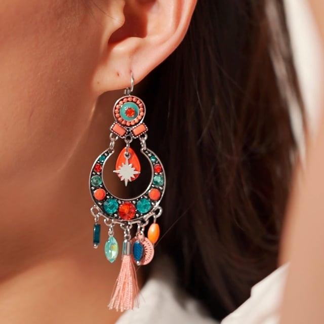 Boucles d'oreilles pompon orange Indian Song