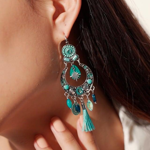 Boucles d'oreilles pompon turquoise Indian Song