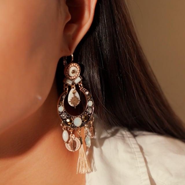 Boucles d'oreilles pompon doré Indian Song