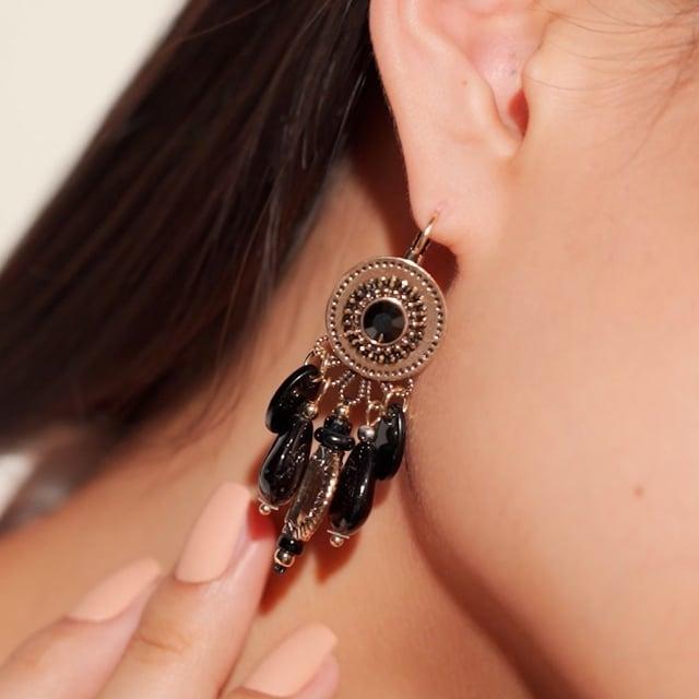 Boucles d'oreilles attrape-rêve noires Indian Song