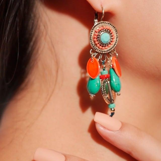 Boucles d'oreilles attrape-rêve turquoises et oranges Indian Song