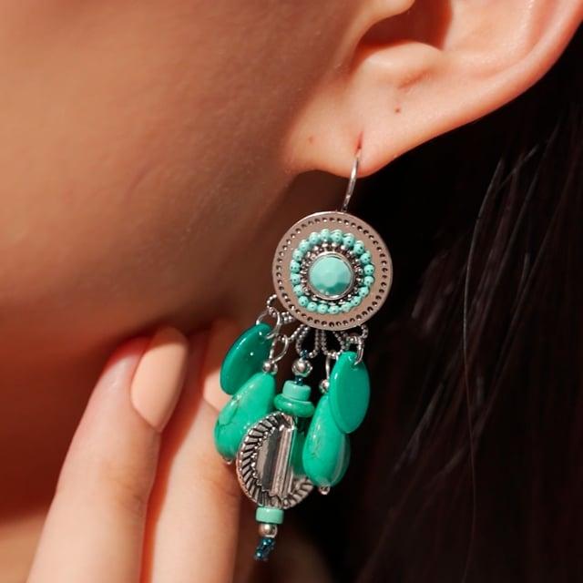 Boucles d'oreilles attrape-rêve turquoises Indian Song