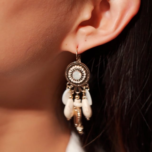 Boucles d'oreilles attrape-rêve blanches Indian Song