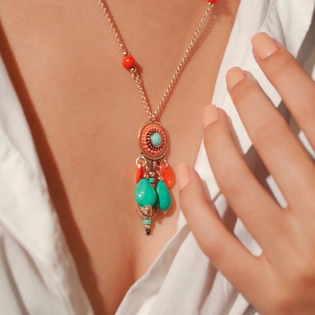 Sautoir attrape-rêve turquoise et orange Indian Song
