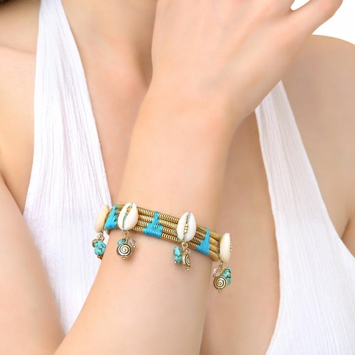 Bracelet coquillages et fils de coton Raphias Raffinés