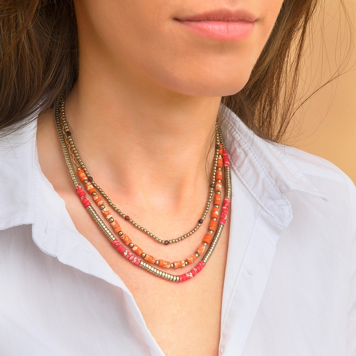 Collier 3 rangs californie rouge