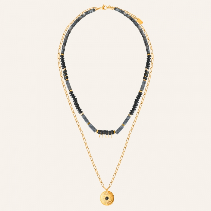 Collier 2 rangs californie noir