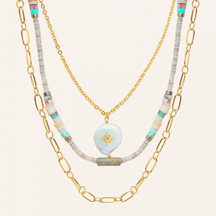 Collier 3 rangs californie perle