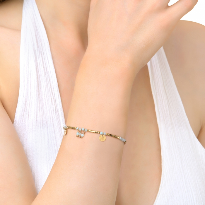 Bracelet esprit bohème vert d'eau