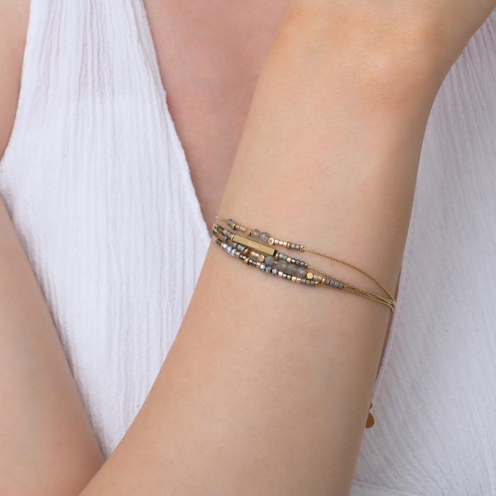 Bracelet grigris esprit bohème gris