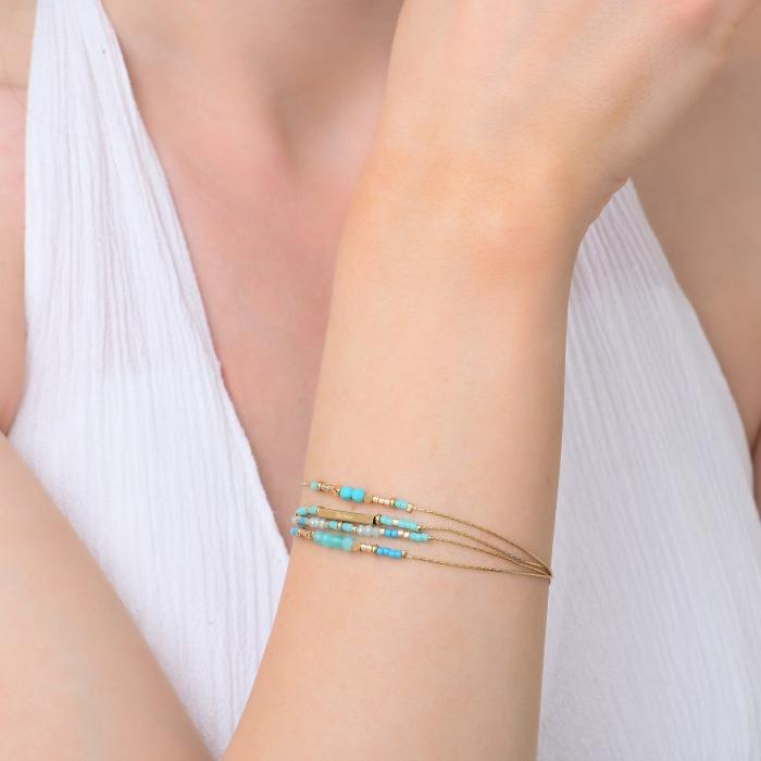 Bracelet grigris esprit bohème turquoise