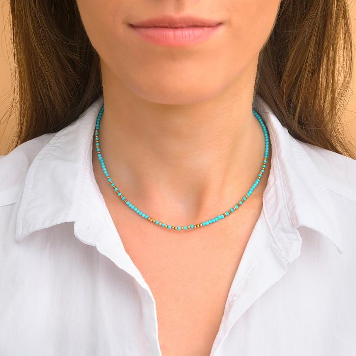 Collier esprit bohème turquoise
