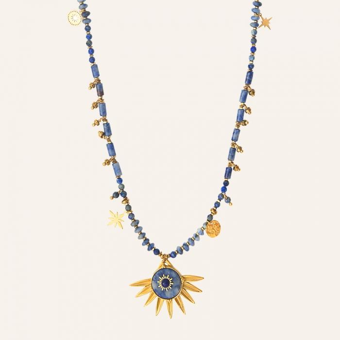 Sautoir solaire esprit bohème bleu
