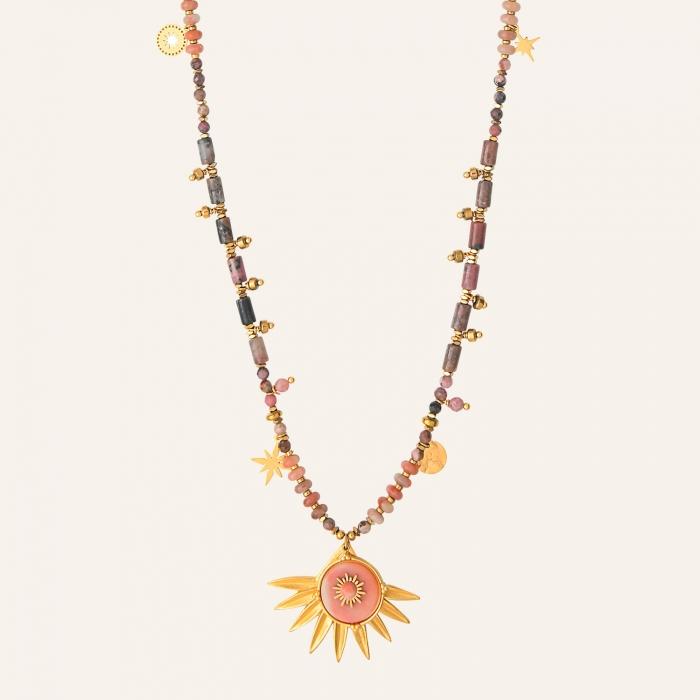 Sautoir solaire esprit bohème rose