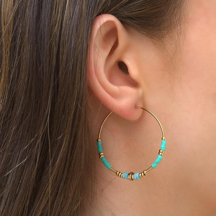 Créoles gypset turquoise