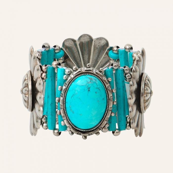 Bracelet fleur cœur turquoise Ethnic Turquoise