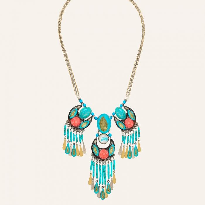 Collier ras de cou plastron Ethnic Turquoise