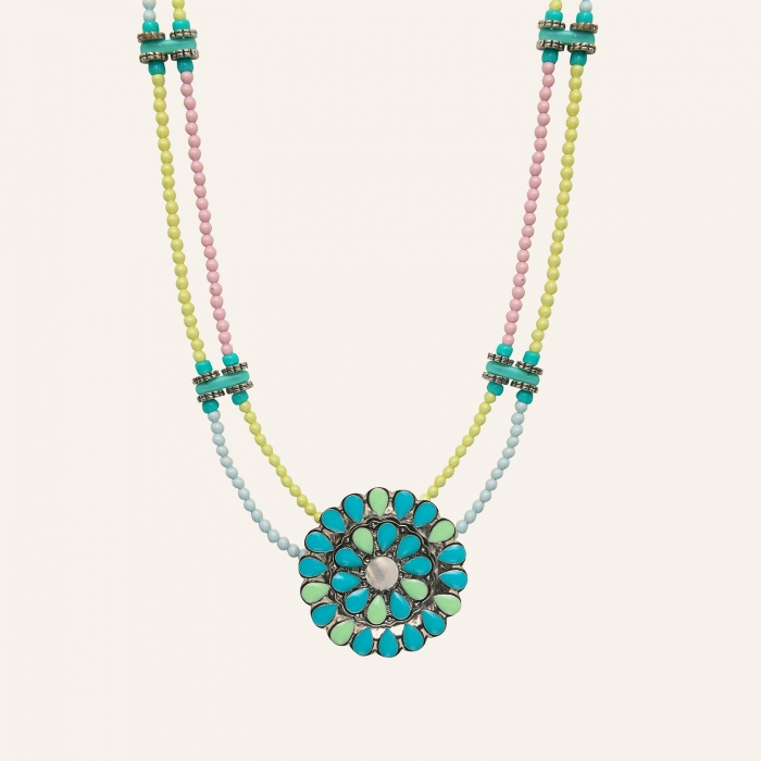 Sautoir fleur Ethnic Turquoise