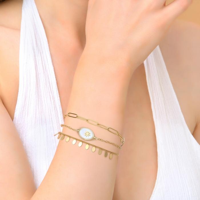 Bracelet 3 rangs douceur nacrée