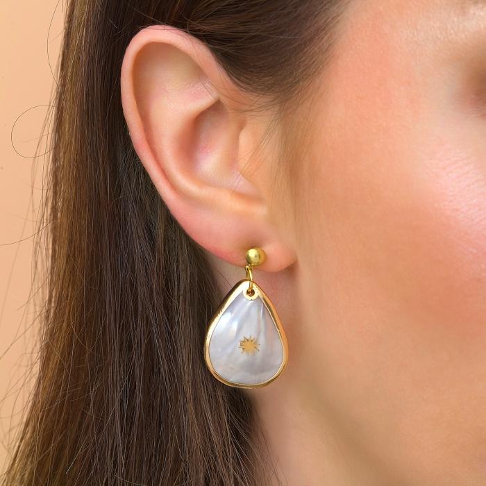 Boucles d'oreilles gouttes douceur nacrée