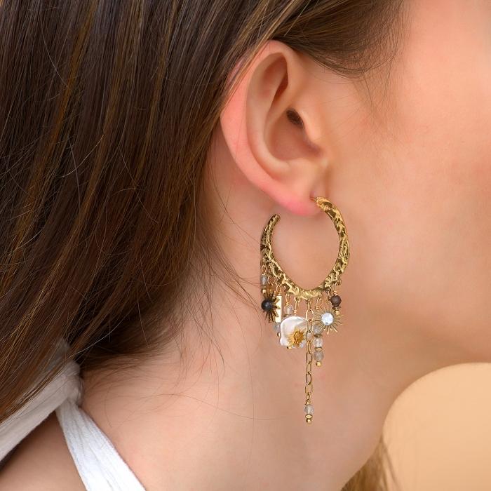 Boucles d'oreilles pampilles douceur nacrée