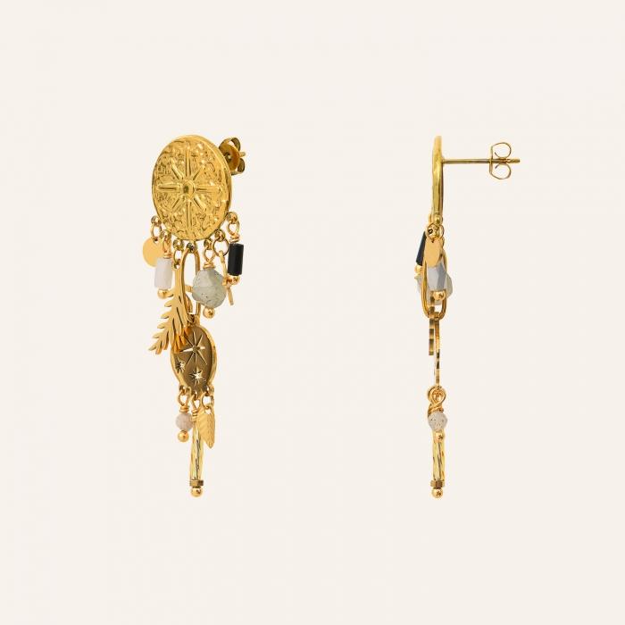 Boucles d'oreilles pendantes martelées pampilles
