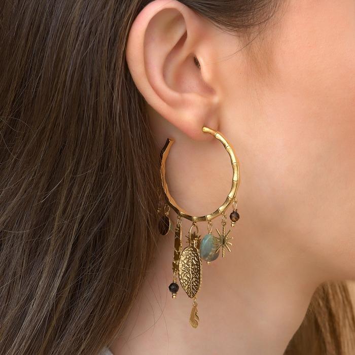 Boucles d'oreilles bambou pampilles