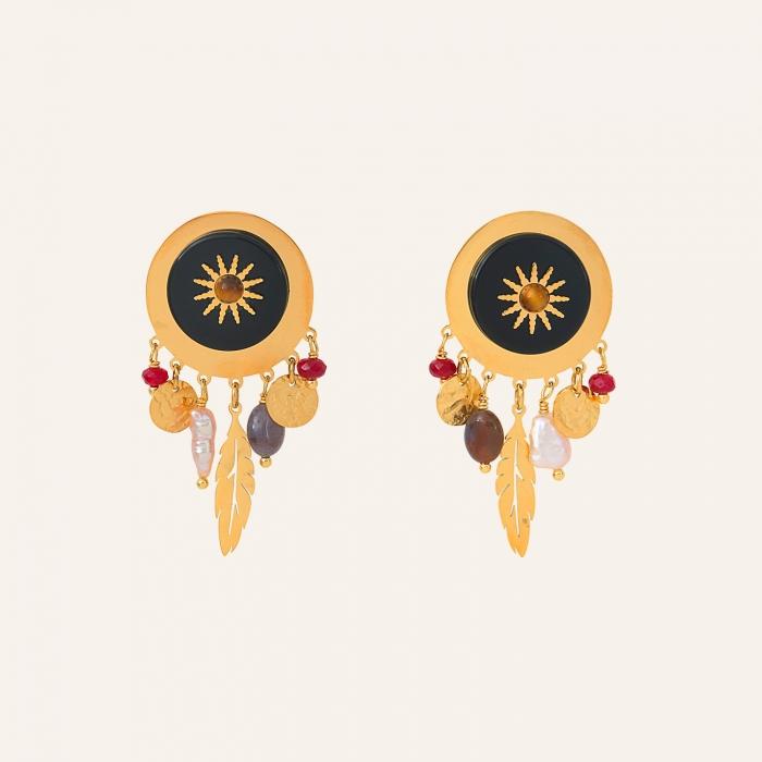Boucles d'oreilles soleil noir