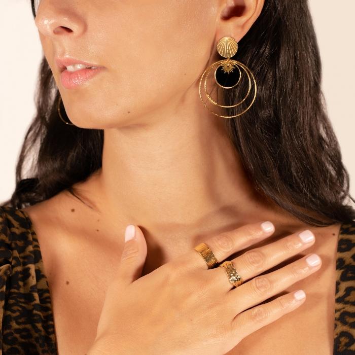 Boucles d'oreilles façon créoles  soleil noir